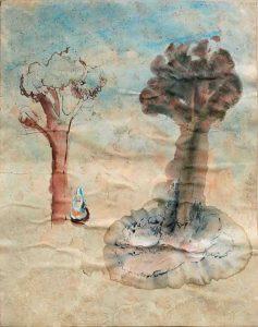 Frau mit zwei Bäumen, Aquarell, 57 x 40 cm, 2009