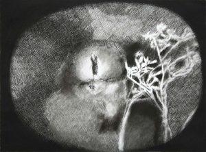 Frau im Licht, Kohle, Pigment, 60 x 80 cm, 2009