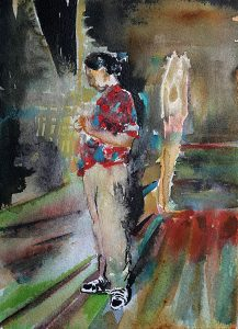 Backstage Ghost Aquarell, 19 x 14 cm, 2011