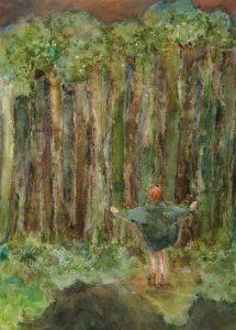 Exhibitionistin, Aquarell, 28 x 20 cm, 2008