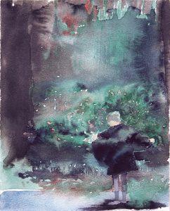 Exhibitionistin, Aquarell, 28 x 22 cm, 2008