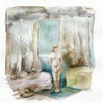Blauer Raum, Aquarell, 25 x 20 cm, 2008