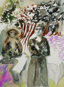 Frau mit Affen, Aquarell, 38 x 28 cm, 2010