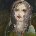 Frau mit Blessur, Öl auf Holz, 40 x 30 cm, 2017
