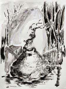Frau mit Ren, Tusche, Gouache, 65 x 60 cm, 2011