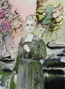 Frau im Moor, Aquarell, 38 x 28 cm, 2010