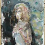 Nachtfrau, Aquarell, 20 x 15 cm, 2017