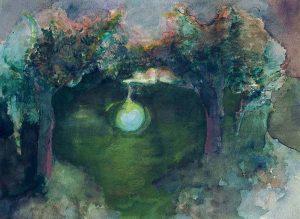 Frau nachts mit Mond, Aquarell, 28 x 38 cm, 2008
