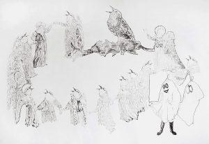 Hirten, Vögel, Hui Buh, Bleistift, 70 x 100 cm, 2016