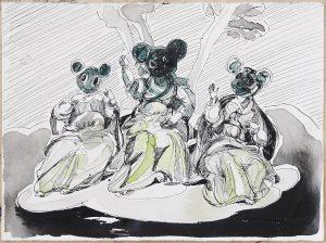 Hoffnung, GlaubeHoffnung, Glaube, Nächstenliebe, Tusche, Aquarell, 19,5 x 26,5 cm, 2018