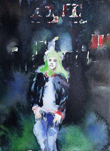 Kiezmädchen, Aquarell, 19 x 14 cm, 2011