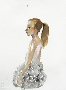 Mädchen mit Fliege, Aquarell, 38 x 28 cm, 2010