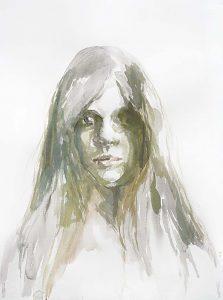 Mädchen mit offenen Augen, Aquarell, 76,5 x 57 cm, 2010