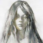 Mädchen mit geschlossenen Augen, Aquarell, 76,5 x 57 cm, 2010