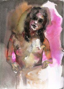 Mädchen im Hammam, Aquarell, 38 x 28 cm, 2010