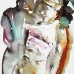 Mädchen in weissem Shirt, Aquarell, 38 x 28 cm, 2010
