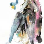 Mädchen mit Strümpfen, Aquarell, 38 x 28 cm, 2010