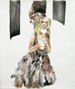 Vogelangriff, Aquarell, 38 x 28 cm, 2010
