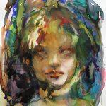 Spooky eyes, Aquarell, farbige Tusche, 76 x 56 cm, 2011
