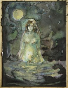 Nachtbad, Aquarell, 20 x 15 cm, 2017