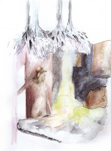 Gelber Raum, Aquarell, 38 x 20 cm, 2008