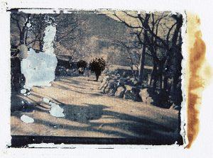 Der Schrecken des Faktischen, Tusche auf Polaroidtransfer, 7,5 x 10 cm, 2018