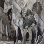 Vier Geister, Pigment, Bleistift, Gouache, 100 x 70 cm, 2018