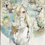 Vogelfängerin, Aquarell, 37 x 27 cm, 2018