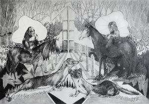 Wächter vor dem Erdbeerfeld, Bleistift, 70 x 100 cm, 2016