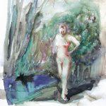 Frau in rotem Badeanzug, Aquarell, 25 x 22 cm, 2008