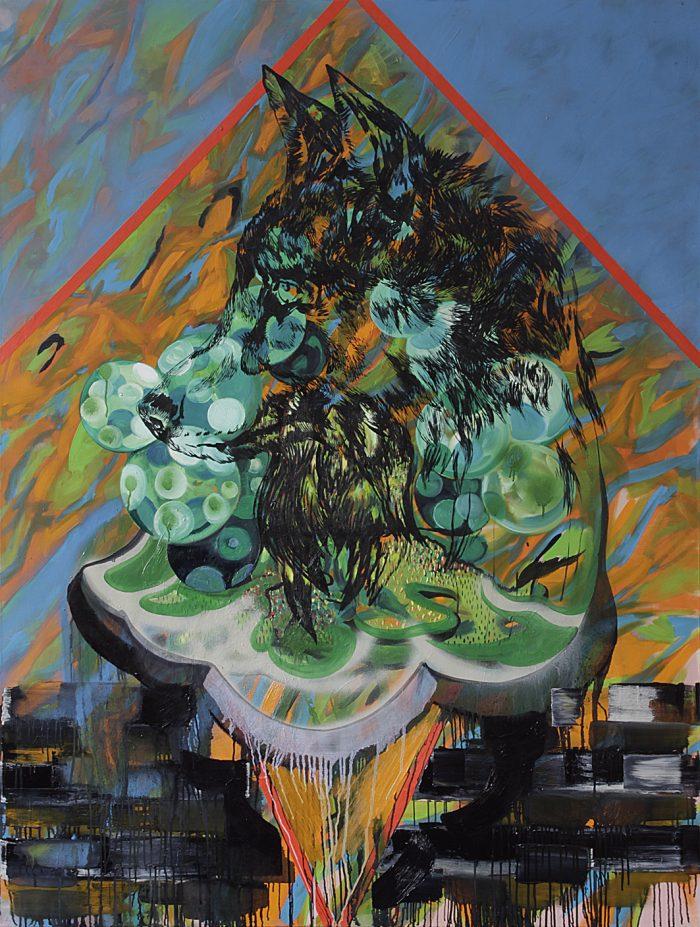 Wolfstraum, Öl auf Leinwand, 200 x 150 cm, 2018