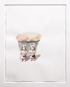 Zwillinge mit Feuerball, Aquarell 25 x 19 cm, 2010