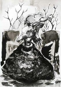 Frau mit Renkopf, Tusche, 29,5 x 21 cm, 2010