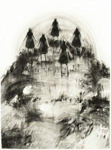 Aufsteigende, Kreidestift, Pigment, 120 x 76 cm, 2009