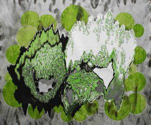 Green Glow, Aquarell, Kohle, Bleistift, Marker 100 x 120 cm, 2010