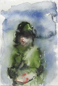 Mädchen im Parka, Aquarell, 15 x 10 cm, 2005