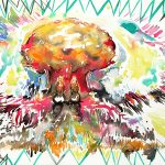 Twins Explosion, farbige Tusche, 57 x 76 cm, 2013