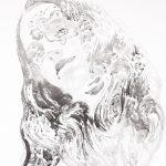Neo Hippie, Tusche auf Leinwand, 50 x 40 cm, 2019