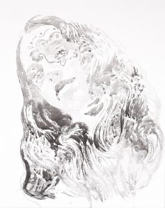 Neo-Hippie, Tusche auf Leinwand, 50 x 40 cm, 2019