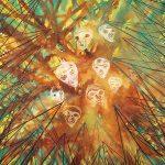 Große Geister, Farbige Tusche auf Leinwand, 200 x 160 cm, 2013