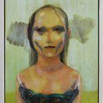 Mädchen und Tod, Öl auf Holz, 30 x 20 cm, 2018