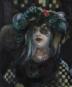 Woman in furs, Öl auf Holz, 60 x 50 cm, 2019