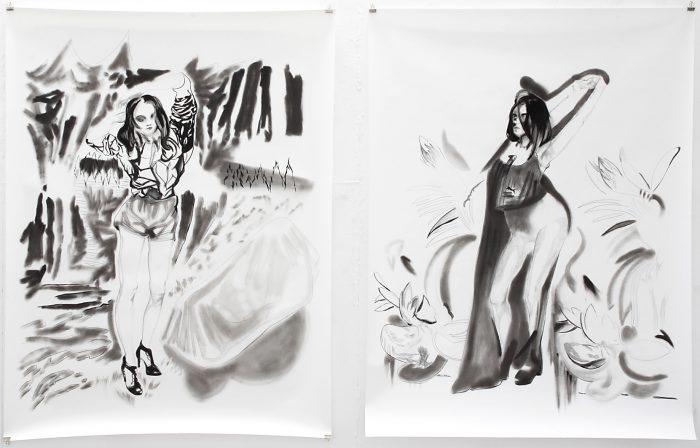 Loss und Puma Girl, Kohle, Pigment, Graphit, 200 x 150 cm,