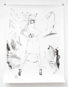 Fuchsfrau, Kohle, Pigment, Bleistift, 200 x 150 cm, 2019