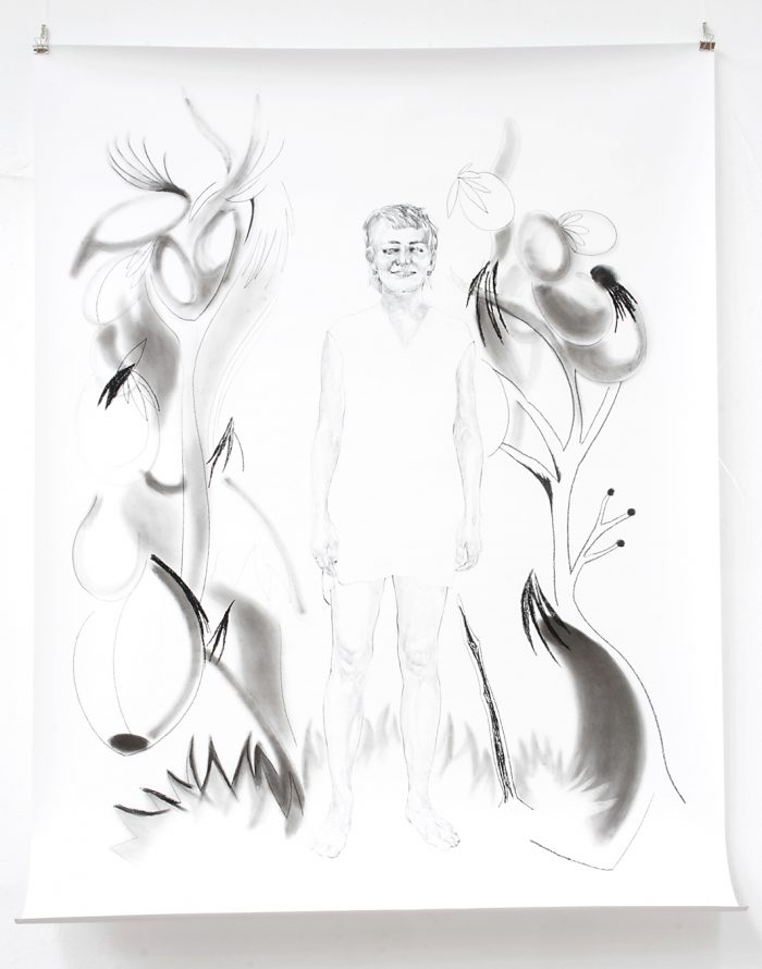 Kati, Kohle, Pigment, Bleistift, 200 x 150 cm, 2019