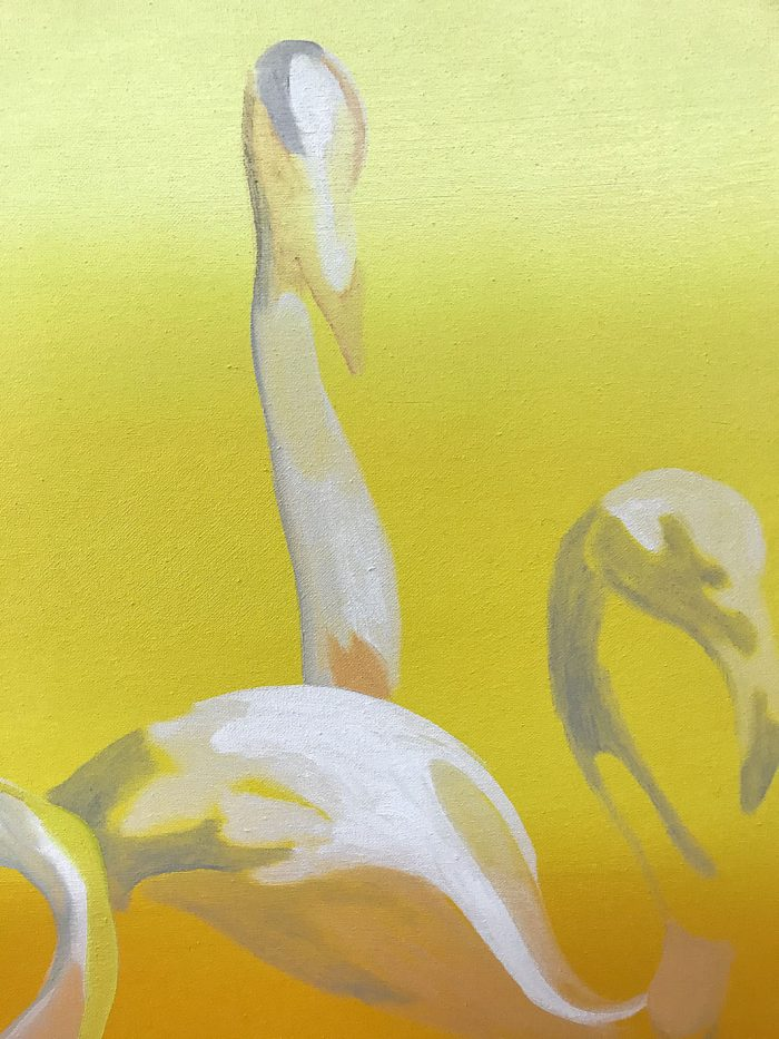 Flamingo Setting (detail), Oil on canvas, 160 x 130 cm, 2019