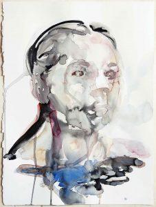 Portrait of a woman in a lake, Watercolour, 38 x 28 cm, 2020