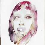 Portrait of a young woman, Watercolour, 38 x 28 cm, 2020