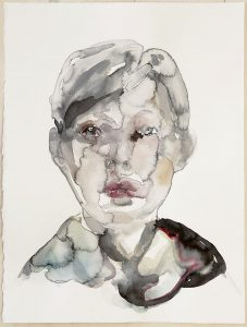 Portrait of a young woman, Watercolour, 38 x 28 cm, 2020