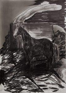 Pferd, Bleistift, Pigment, 40 x 30 cm, 2015